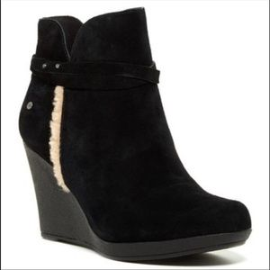 Ugg Alexandra Black Suede Wedge Bootie with Strap